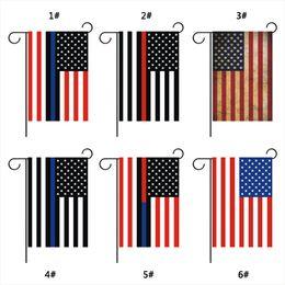 pays des drapeaux rouges Promotion 30 * 45 cm Drapeau Américain Ligne Bleue États-Unis Police Pays Drapeaux Partie Décoration Bleu Ligne États-Unis Drapeau Noir Blanc Rouge Rayure Jardin Drapeau DBC VT0631