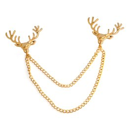 2019 cadena de broche de los hombres Deer Head Chain Tassel Broche Pin de solapa Camisa pin Joyería de moda para mujeres Hombres Will y Sandy Drop Ship rebajas cadena de broche de los hombres