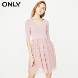 Seulement les robes des femmes en Ligne-ONLY - Robe en dentelle aux manches coudées pour femmes | 118146536 T5190615