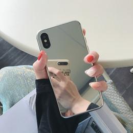 Deutschland Luxus designer gehärtetes glas bilden spiegel telefon case abdeckung für iphone x xs max xr 10 8 7 6 6 s plus iphone7 8 plus telefon silber stoßstange cheap silver mirror iphone case Versorgung