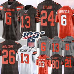 2020 jersey de chubb 6 Baker Mayfield 13 Odell Beckham Jr Cleveland Jersey Brown 24 Nick Chubb 26 Greedy Williams 95 Myles Garrett Landry Denzel Ward, Jersey rebajas jersey de chubb