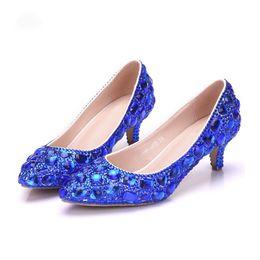 Vestido de fiesta morado de cenicienta online-Zapatos 5cm Rhinestone Tacón medio Cenicienta Zapatos de fiesta de baile Formal de dama Zapatos Royal Royal Gold Purple