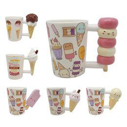 Cerâmica em forma de mão on-line-Caneca De Cerâmica criativa Ferramentas de Beleza 3D Mão Emoticon Picolé de Sorvete Forma Cup Handle Xícara de Chá para o Presente