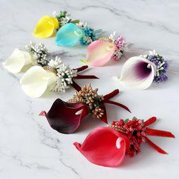 terno das meninas para o casamento Desconto ROSA azul Groomsmen Boutonniere Nupcial Menina Corsage Artificial Silk Rose Flores Artificiais Festa de Casamento Terno Decoração