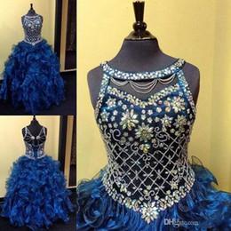indossare gonna blu reale Sconti Royal Blue Crystals Toddler Girls Pageant Abiti 2019 Ball Gown Puffy Organza a strati Gonne Little Girls Bambini Abiti formali Pageant Abiti