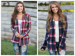 T-Shirt Frauen Mutterschaft Tops Grid Plaid Langarm Strickjacke Top Cover Up Bluse Lose Schlanker offener Stich Strickjacke von Fabrikanten