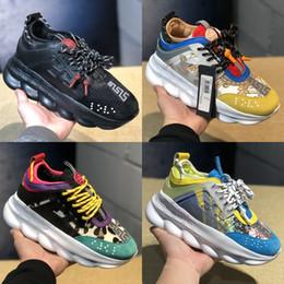 Wholesale Top Quality Versace Reaction Chain Designer Sneakers Formadores Mens Womens Multi Color Camurça De Borracha Plataforma Moda Sapatos de Luxo chaussures