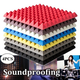 Paneles de aislamiento acústico online-Paneles acústicos Reducción de ruido Absorción Cuña Azulejos Aislamiento de sonido Ktv Studio Room Espuma de aislamiento acústico 50x50x5cm Q190416
