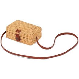 sacs en toile de paille Promotion Sacs de paille carrés sac à main nouvelle mode été sac en rotin en rotin à la main plage tissée cercle sacs à main Bohême sac à bandoulière JY332
