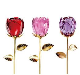 Argentina Cristal Rosa Flor Figuras Arte de San Valentín Favores de boda y regalos Decoración para el hogar Adornos Suministro
