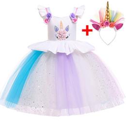 Canada 2019 Gratuit D'or Bandeau De Pâques Licorne Robe Costume Enfants Robes Pour Filles Vêtements Fille Princesse Robe De Mariage Robe Offre
