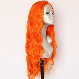 Parrucche Luckystar Halloween Trendy New Sexy colore arancione acqua onda parrucche per capelli Resistente al calore capelli Gluless parrucche sintetiche anteriori del merletto per le donne da