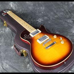 chitarre doganali Sconti 2019 Nuovo design tastiera in acero con chitarra elettrica Can Thru Customs Corpo in mogano con fiammato Acero Grover Tuner
