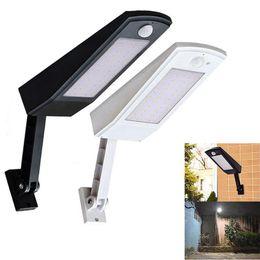 Lámpara de poste de luz al aire libre jardín online-900lm llevó la luz solar impermeable al aire libre del jardín Luz de pared 48 leds cuatro modos giratoria de la lámpara solar Polo ZZA268