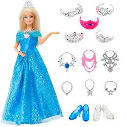7444daa35 14 pcs Lot Gift Set   1x Princess Cinderella Dress + 13x Accessories Crown  Necklace Shoes Dancing Party Clothes For Barbie Doll toys barbie sets on  sale