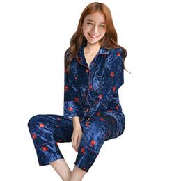 2019 mujeres otoño invierno pleuche imprime pijamas mujer ropa de dormir 2 UNIDS Homewear Pijamas conjunto ropa de dormir ropa de noche femenina cálida desde fabricantes