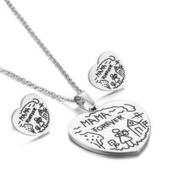 Parure di gioielli in acciaio inossidabile MAMA incisi a forma di cuore, set di gioielli da donna 316l placcati in oro di alta qualità per regali per la festa della mamma da