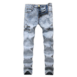 Pantalones largos de talle alto online-Lápiz Jeans Hombres Denim Cintura elástica alta desgastada Slim Fit Snow Pale Blue Pocket Zipperd Long Pants