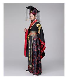 Kaiserliche kleider online-Die Qin-Dynastie Imperial Kleid Traditionelle alte chinesische Hanfu Männer TV Play Bühne tragen männlichen Kaiser Kostüm Drachen Stickerei Kleid Vestido