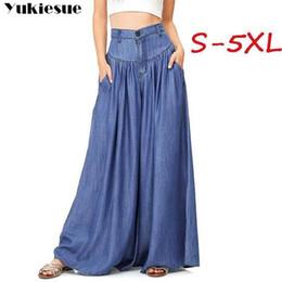 2019 legging saia mais tamanho Streetwear Verão 2019 das Mulheres Calças Femininas de Cintura Alta Perna Larga Saia Longa Calças Capris Para As Mulheres Calças Mulher Plus Size 5xl MX190716 legging saia mais tamanho barato