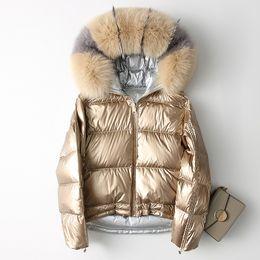 2019 реальная отделка капота Down coat women winter thick warm white duck down jacket female real  fur trim hood fashion loose design NPI 90318A скидка реальная отделка капота