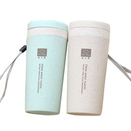 Bottiglia portatile doppio strato di 300ML 4 colori Paglia diritta dell'allievo della bottiglia di acqua semplice ecologica con le bottiglie del caffè del coperchio da bottiglie in ceramica fornitori