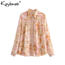 Camicie chic online-Boho Chic Summer Tops Vintage Floral Print Shirts Donna 2019 Moda bavero colletto a maniche lunghe Beach Bluse Blusas Mujer
