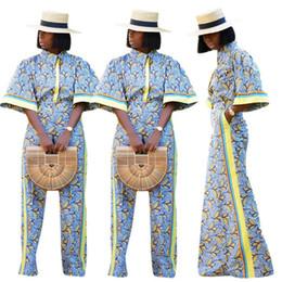 2019 pantalon boutonné Vintage Style Casual 2 Piece Set Femmes Button Up Half Flare Chemises à manches et poches latérales Pantalon large 2018 Imprimé Set pantalon boutonné pas cher