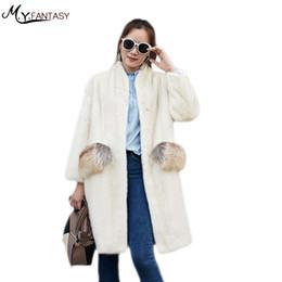 2020 weißer nerzkragen M.Y.FANSTY 2019 Winter-Mandarine-Kragen Pearl White Damenmode-Nerz-Mantel-Pelz-Taschen-reale Pelz-Mantel Medium Verlust Mink Coats günstig weißer nerzkragen