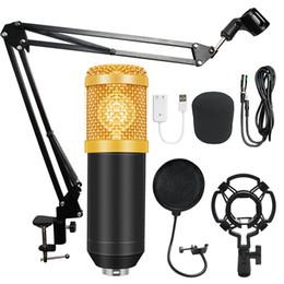 2019 micrófono ktv Bm-800 Condensador de audio 3.5 mm con conexión de cable de estudio Micrófono de grabación vocal Ktv Karaoke conjunto de micrófono Mic / soporte para computadora T190704 rebajas micrófono ktv