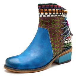 Trabajo de cuero de estilo europeo online-2019 Nueva llegada Botines de estilo europeo y americano para mujeres Zapatos de cuero genuino Botas de trabajo para damas