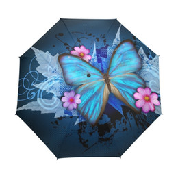 butterfly tubes Promo Codes - Butterfly Over Flowers Women's Umbrella Oil Painting 3 Folding Parasol Fashion Lady Portable Girl Childrend Umbrella Gift T8190619