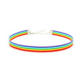 spitze-choker-halsbänder für frauen Rabatt Homosexuell Stolz-Regenbogen-Halskette LGBT Homosexuell und Lesben-Stolz-Spitze Chockers Band Halsband mit Anhänger Statement Schmuck für Männer Frauen