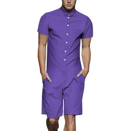 plus größe gesamtspielanzug Rabatt neue 2019 sommer street wear casual herren kurzarm shirt overall arbeitskleidung overall männer plus size einteiler strampler
