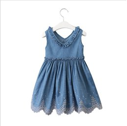 b4eedb4cf9b Girls Lace Embroidery V-Neck Denim Dresses Summer 2019 Kids Boutique  Clothing 2-7Y Little Girls Solid color Sleeveless Dresses