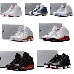 Zapatos de moda para niños baratos online-Nike air jordan 13 retro  Moda de calidad superior Barato Jumpman retro 13s zapatos de baloncesto j13 Gris Negro Rojo Oliva nuevos jóvenes niños j13 zapatillas de deporte botas