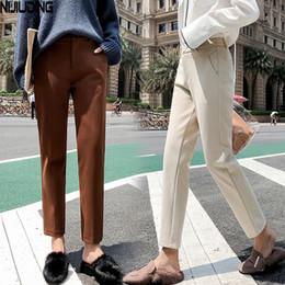 9888218eec pantalones de lana Rebajas 2018 Otoño Nuevas mujeres Pantalón de lana  elástico Hembra Tallas grandes Pantalones