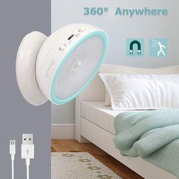 Şarj edilebilir USB LED Hareket Sensörü Gece Işık 360 Dönen Tuvalet WC Mutfak Yatak Odası Dolabı Duvar Taşınabilir Okuma Masa Lambası supplier led reading lights for bedroom nereden yatak odası için led okuma ışıkları tedarikçiler