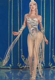 2019 costume del corpo d'oro 2019 Fashion Women Gold Fringes Costume Body femminile cantante DJ Nightclub spettacolo Tassel Body Stage Performance Outfit costume del corpo d'oro economici