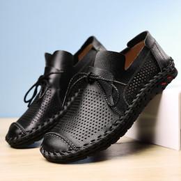 2020 zapatos de cuero modernos Jaycosin 2019 Hombre moderno clásico con cordones transpirable confort ahueca hacia fuera los zapatos planos perforados forrados de cuero July1 P35 zapatos de cuero modernos baratos
