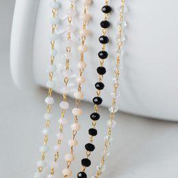 2019 измерительная цепь Gold Crystal Beaded Chain 3mm Thin, Gold plated Brass Chain with Glass Rondelle , Tarnish Resistant (#LK-180)/ 1 Meter=3.3 скидка измерительная цепь