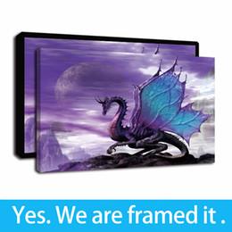 2020 animais cor pintura a óleo Framed Canvas Wall Art, Modern Cor Psychedelic ocidental do dragão Animais dos desenhos animados Pintura a óleo de impressão da parede da lona Pintura Home Decor animais cor pintura a óleo barato