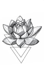 279169dcf3ad1 Discount lotus tattoo designs - Waterproof Temporary Fake Tattoo Stickers  3D Geometric Triangle Lotus Flowers Grey