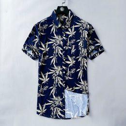 tessuto a foglia d'acero Sconti Camicia estiva da uomo Manica corta Vintage Maple Leaf Print T-shirt blu scuro Vacanza Tessuto vento casual Ottima pelle amichevole