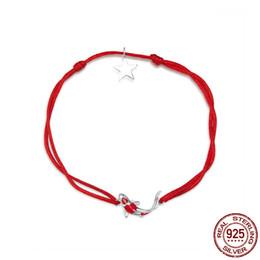 Красный карп онлайн-Счастливый карп Red Rope Стерлингового Серебра 925 Браслет для Женщин Мода Простые Украшения Свадьба Рождество