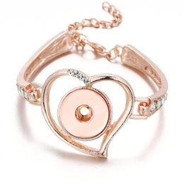 6 teile / los rose gold Neue ingwer snap Schmuck voller Kristall Metall Liebe Herz 18mm Druckknöpfe für Armbänder DIY Schmuck von Fabrikanten