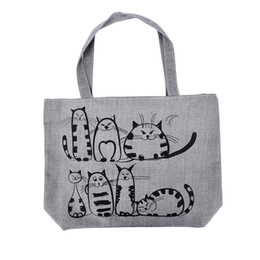 de25071cec Cheap Fashion 1PCS Bolsa Feminina Canvas Tote Shopping Handbags sac a main  femme de marque Women Cartoon Cats Printed Beach Zipper Bag