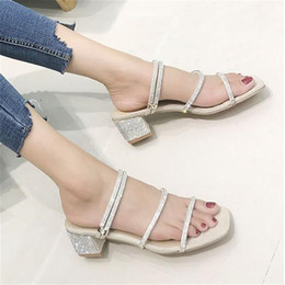 ba7dbcbdbd6f9 2019 summer new open toe square head rhinestone sandals European style  women s shoes with thick sandals nude high heel slippers