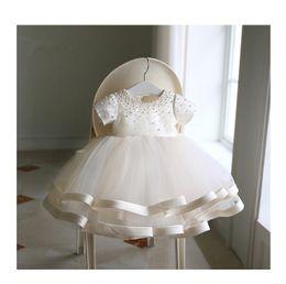 Vestido para el 1er cumpleaños online-Vestido de fiesta para bebé recién nacido con cuentas Vestido de fiesta para recién nacido 1er cumpleaños en capas Arco de tul Vestido de fiesta para niña Bautizo infantil Bautizo