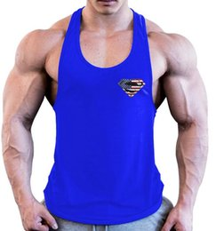 32bdfd2551a08c National flag superman 100% Cotton Men Gym tank top Sleeveless vest Singlet Training  workout Muscle vest t shirt sport UFC MMA NEW MEN VEST new superman t ...